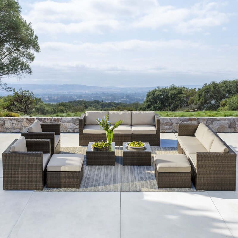 Eastbrook 12 Piece Rattan Sectional Seating Group with Cushions