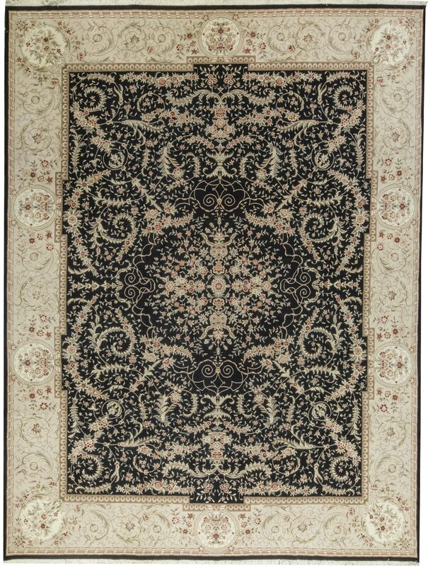 "One-of-a-Kind Elegance Select Handwoven 11'9"" x 14'9"" Wool/Silk Black/Gray Area Rug"