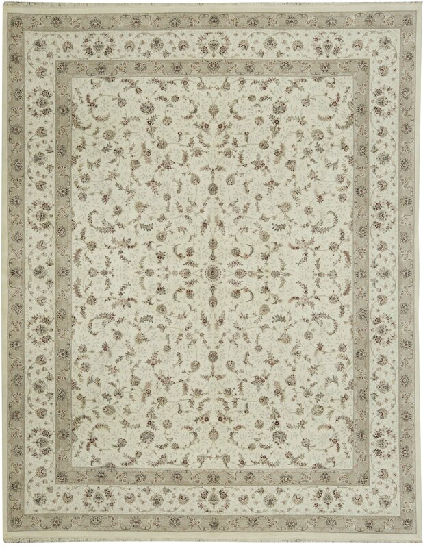 One-of-a-Kind Elegance Select Handwoven 12' x 15' Wool/Silk Beige Area Rug
