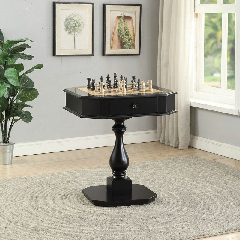 """28"""" Chess and Backgammon Table in Black"""
