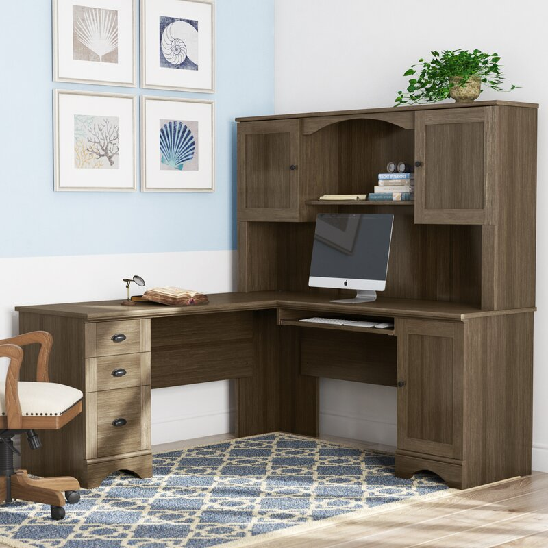 Pinellas Reversible L-Shape Computer Desk with Hutch