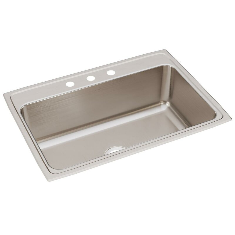 "Lustertone 31"" L x 22"" W Drop-In Kitchen Sink"