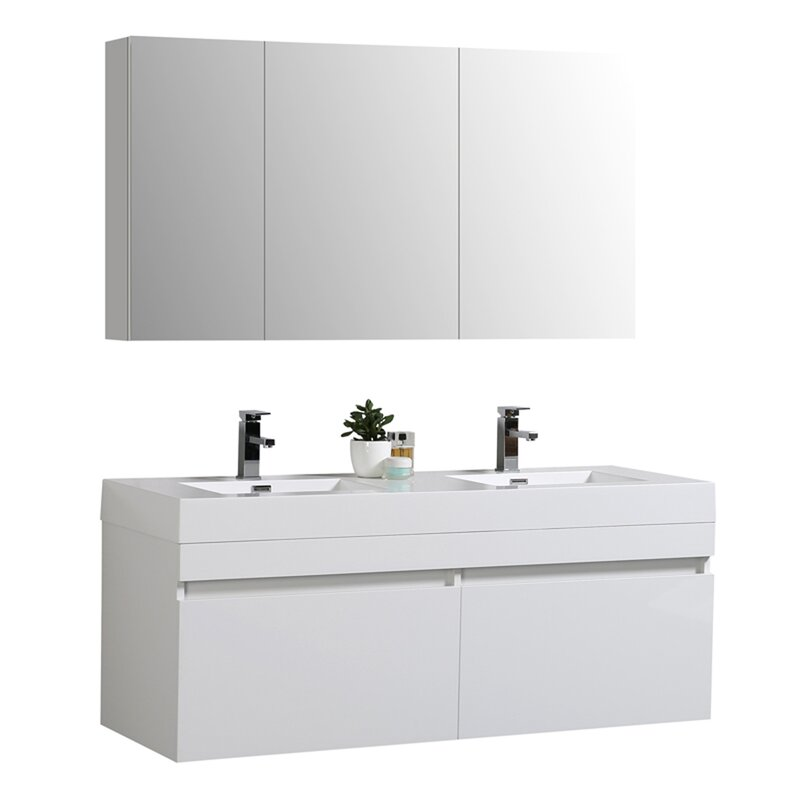 """Chick 56"""" Wall Mounted Double Bathroom Vanity Set with Mirror"""