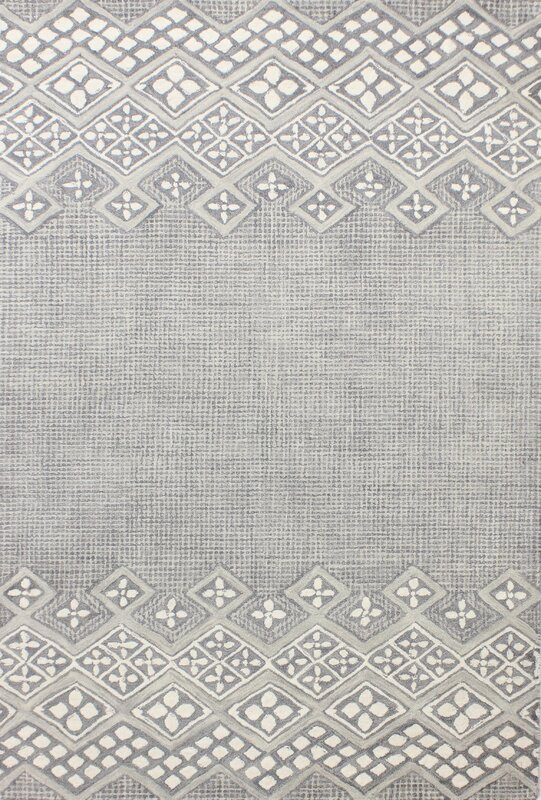 Kolya Hand-Tufted Wool Gray/White Area Rug