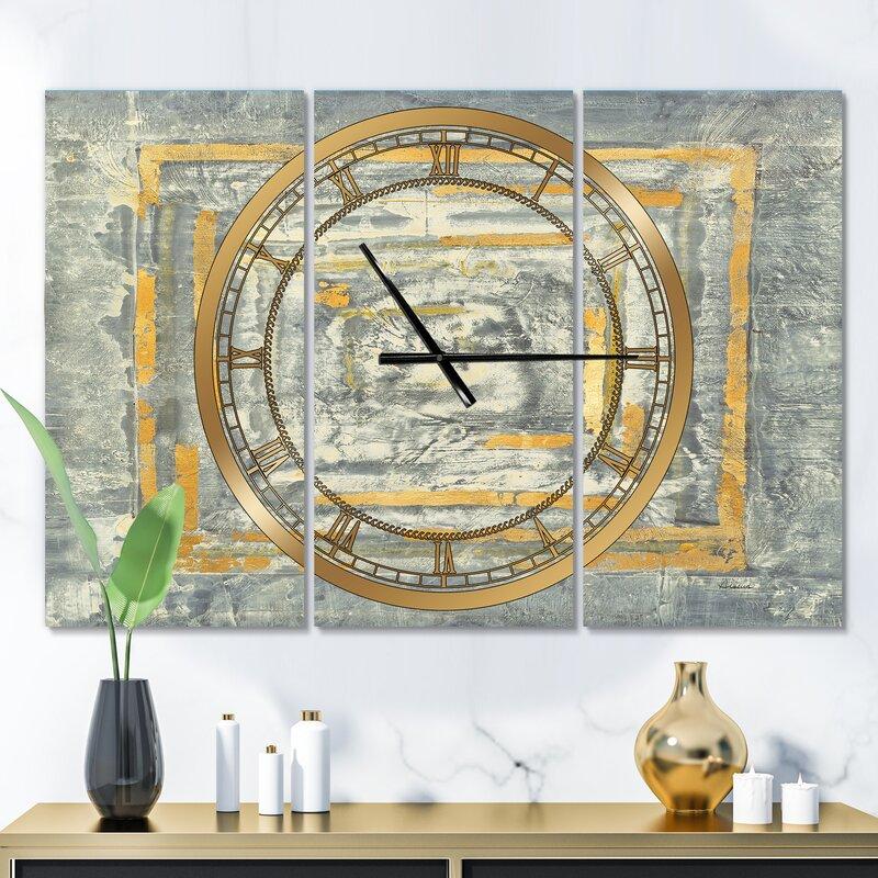 Tapestry II Glam 3 Panel Metal Wall Clock