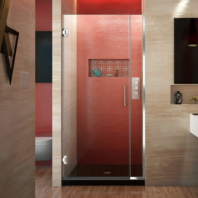 "Unidoor Plus 34.5"" x 72"" Hinged Frameless Shower Door with Clearmax™ Technology"