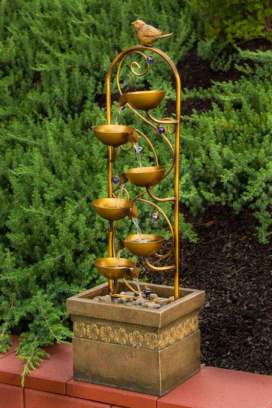 Pajaro Outdoor Resin Tiered Fountain