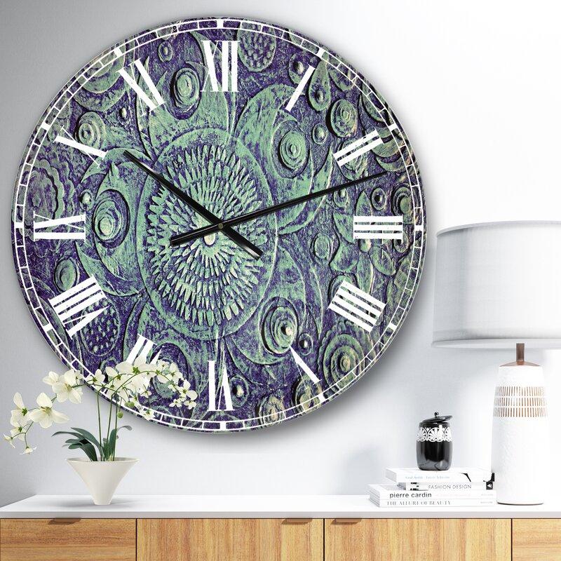Oversized Circle Flowers Metal Wall Clock