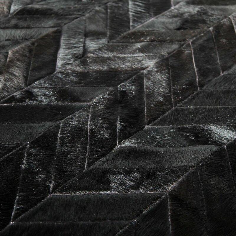 Patchwork Cowhide Yves Black Area Rug