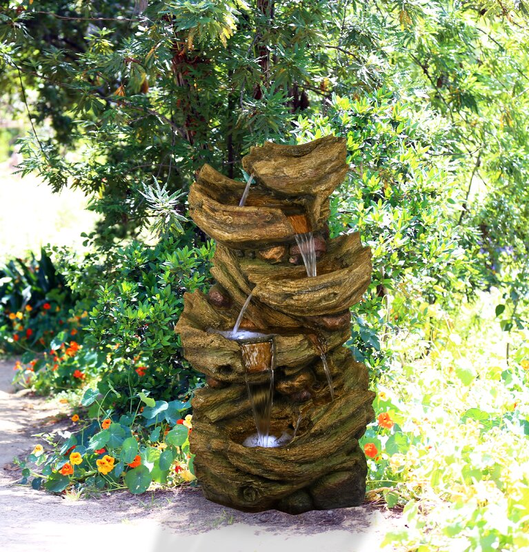 Fiberglass and Resin 5-Tier Waterfall Fountain with Light