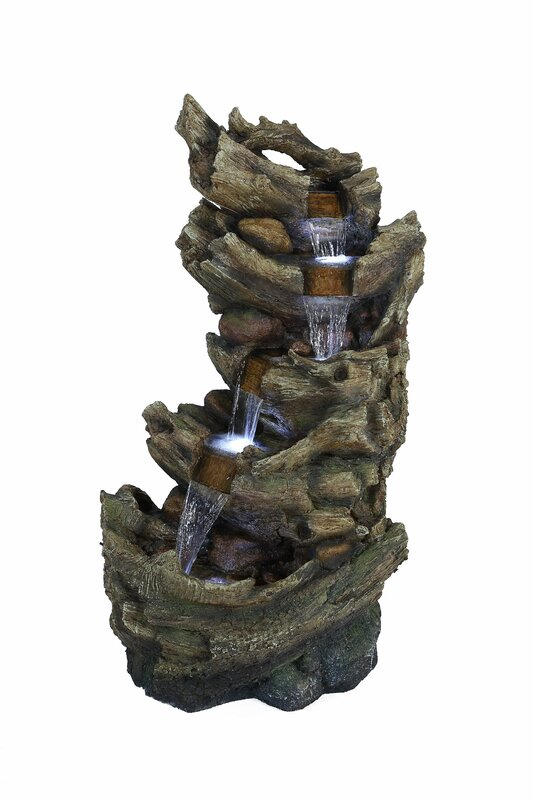 Fiberglass and Resin 5-Tier Waterfall Trunk Fountain