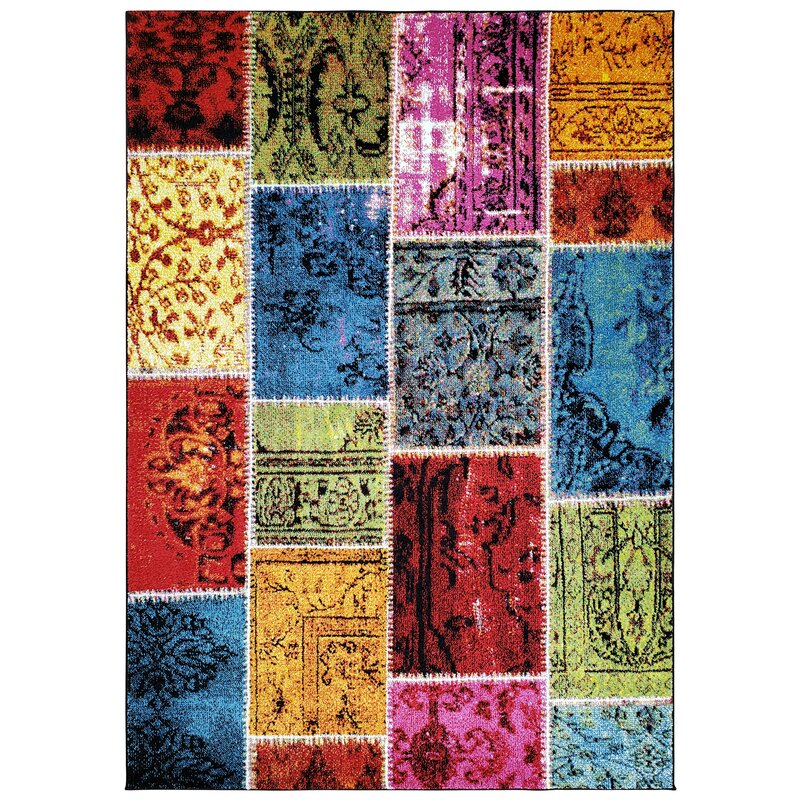 Marana Anti-Bacterial Red/Orange/Blue Indoor/Outdoor Area Rug