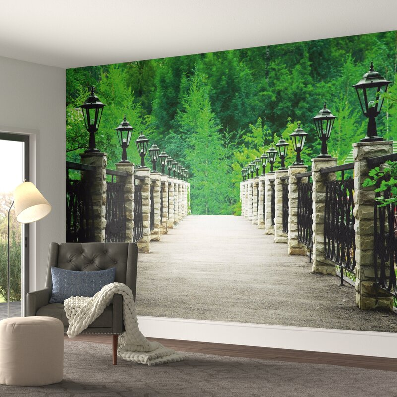 "Lanterns Bridge into the Forest 11.8' L x 106"" W Wall Mural"