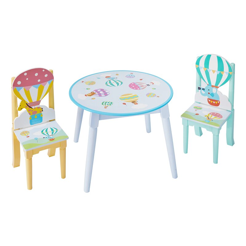 Hot Air Balloons Kids 3 Piece Writing Table and Chair Set