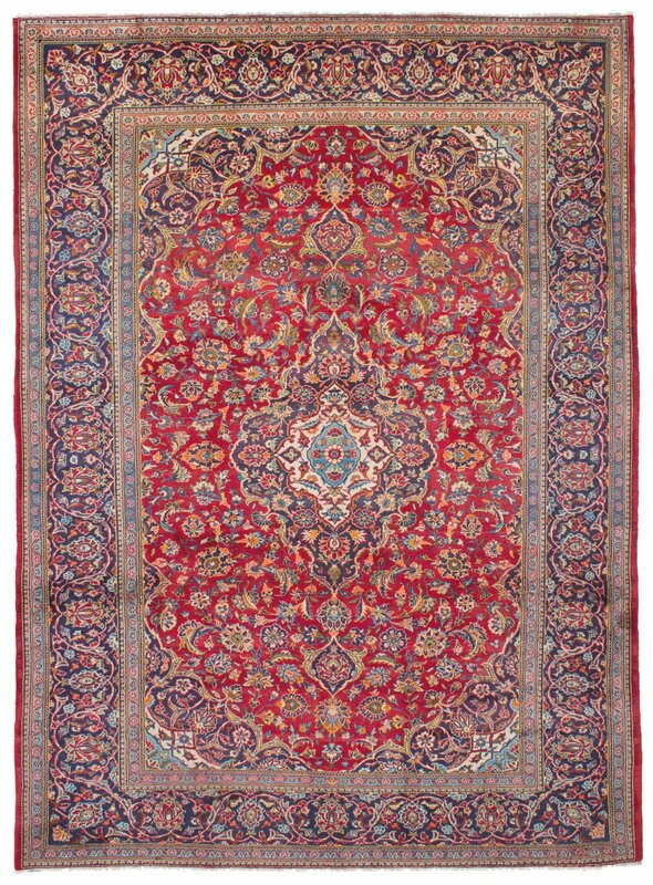 "One-of-a-Kind Kashan Hand-Knotted 8'6"" x 11'8"" Wool Red/Navy Area Rug"