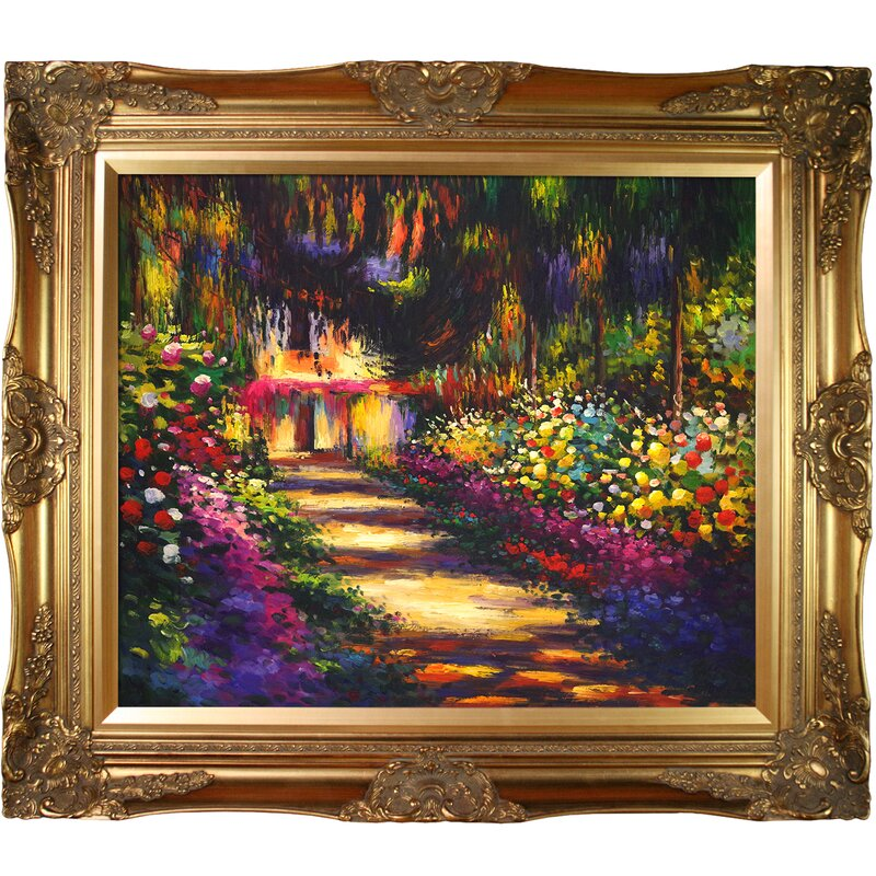 'Pathway in Monet's Garden at Giverny' by Claude Monet Horizontal Framed Painting