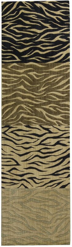 Power Loom Wool Black/Brown Area Rug