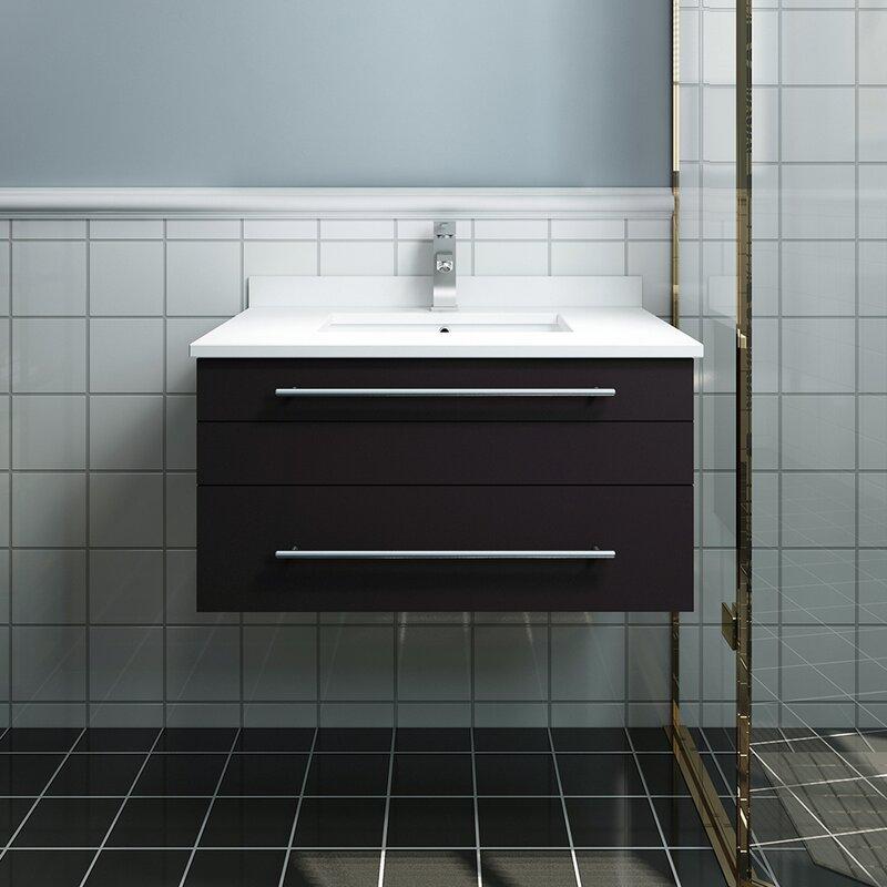 "Lucera 30"" Wall Hung Undermount Sink Single Bathroom Vanity"