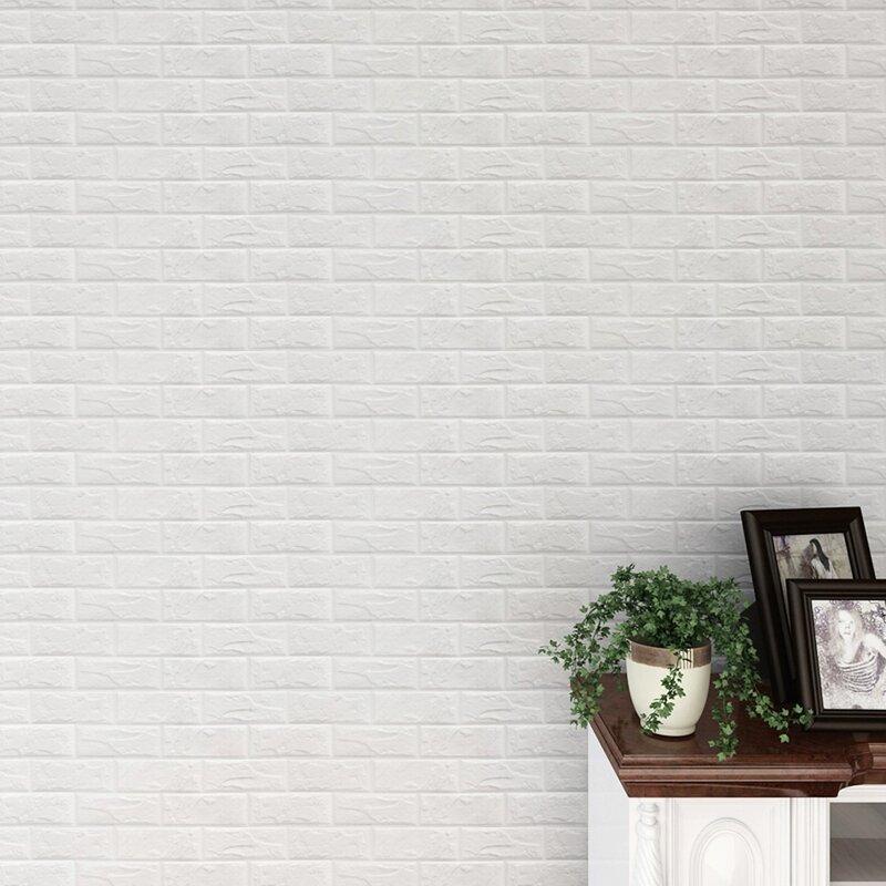 "Brick 32"" L x 28"" W Paintable Peel and Stick Wallpaper Tile"