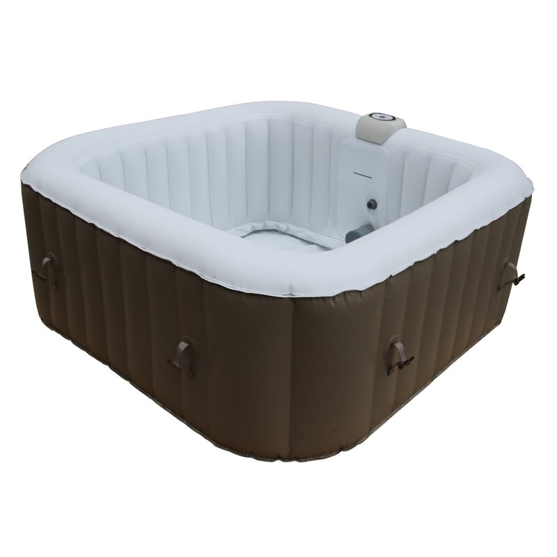 Square Portable 4-Person 130-Jet Inflatable Hot Tub