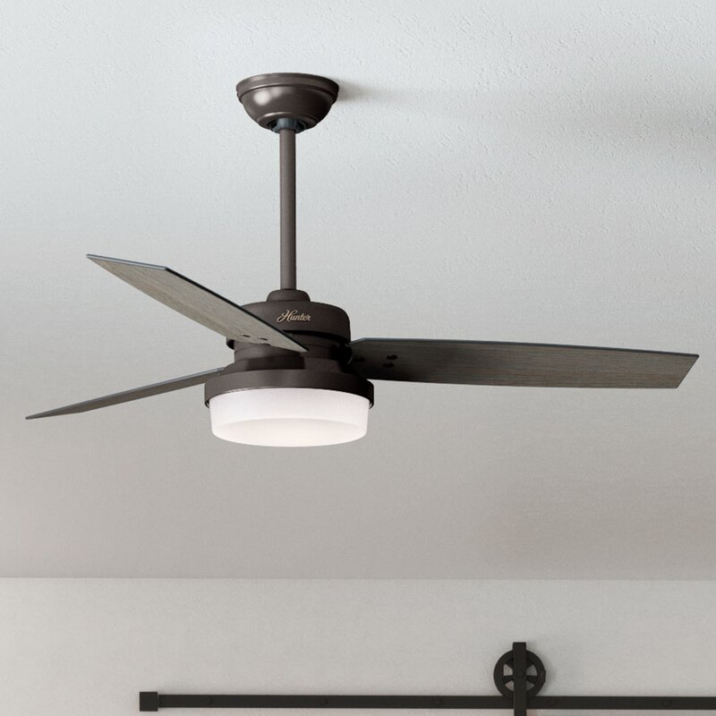 "52"" Sentinel 3 Blade LED Ceiling Fan with Remote,  Light Kit Included"