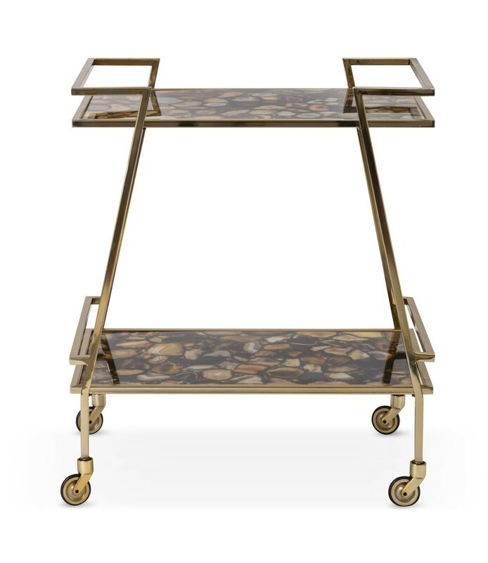 Nakasa Sable Agate Stainless Steel Bar Cart
