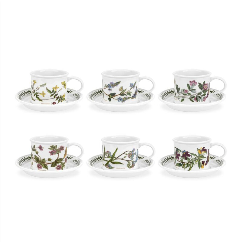 Botanic Garden 6 Piece Teacup & Saucer Set (Set of 6)