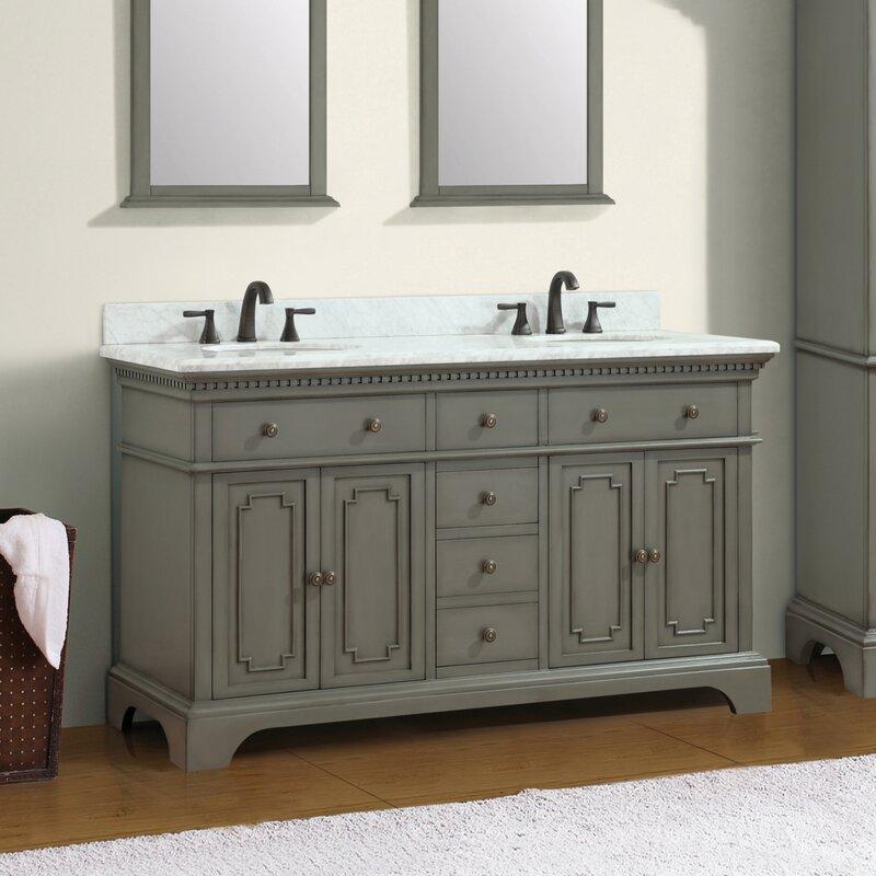 "Ruthann Marble Top 73"" Double Bathroom Vanity Set"
