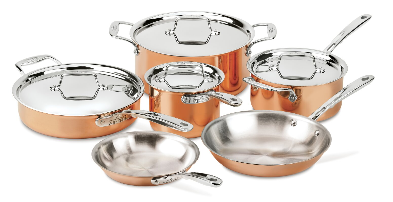 All-Clad 10 Piece Copper Cookware Set