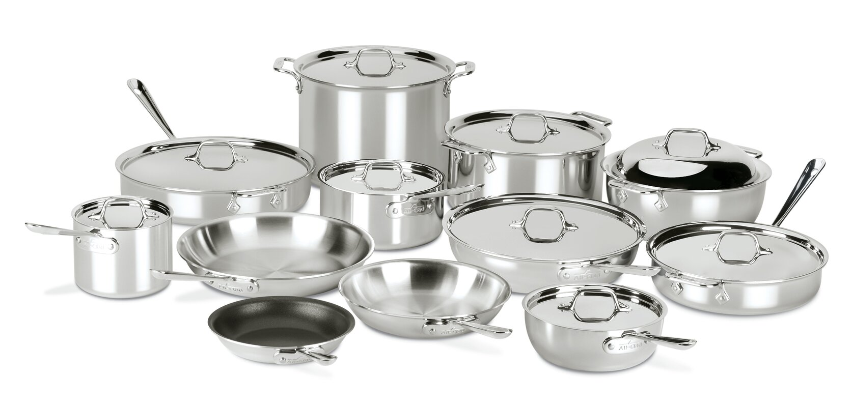 All-Clad D3 Compact 21 Piece Non-Stick Stainless Steel Cookware Set
