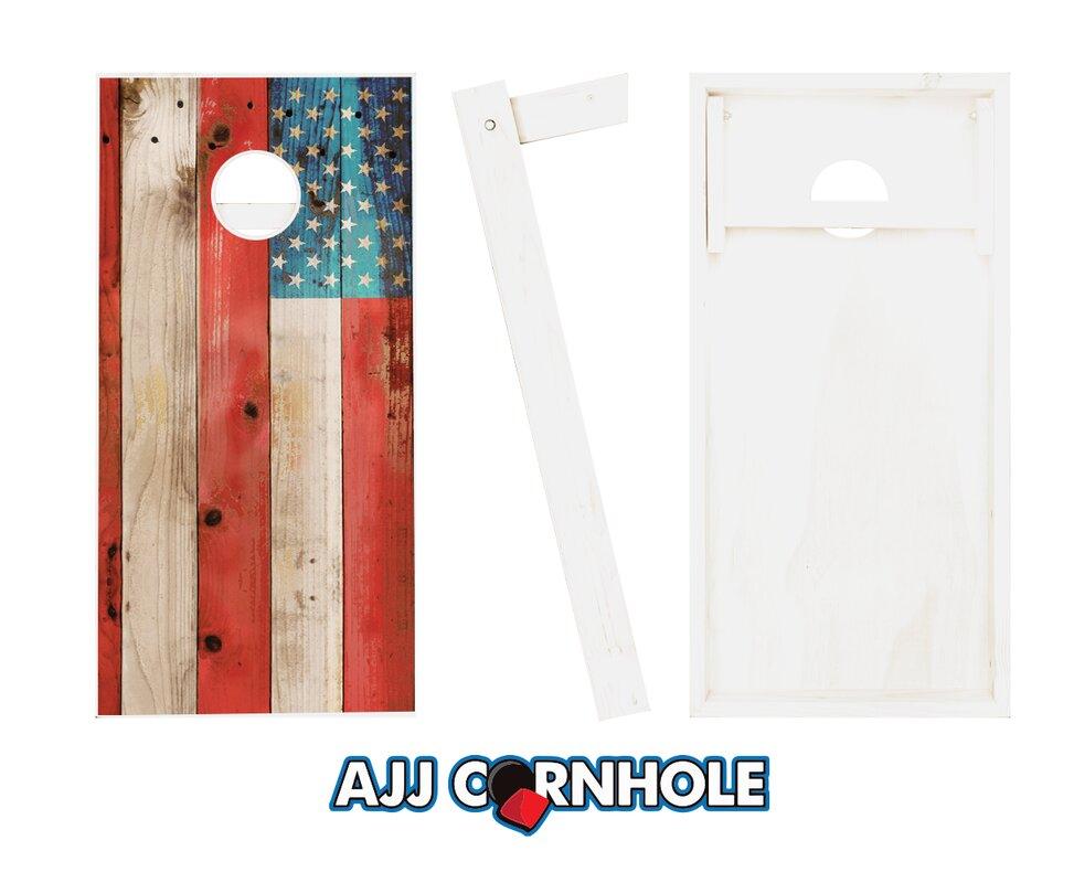 2' x 4' American Flag Solid Wood Cornhole Board