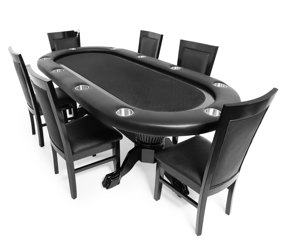 Elite Poker Table-Suited Speed Black  6 Chairs