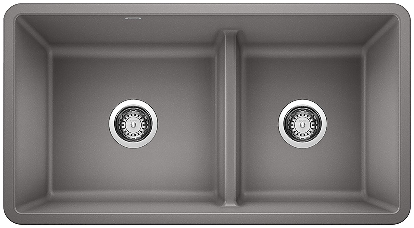 "Precis Silgranit® 33"" L X 18"" W Double Basin Undermount Kitchen Sink"