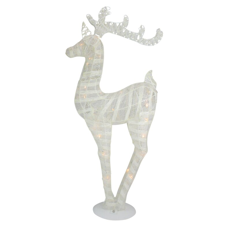 Battery Operated Glittered LED Lighted Reindeer Christmas Decoration Lighted Display