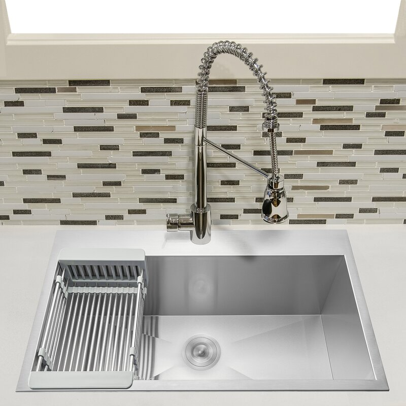 """33"""" L x 22"""" W Drop-In Kitchen Sink with Adjustable Tray and Drain Strainer Kit"""