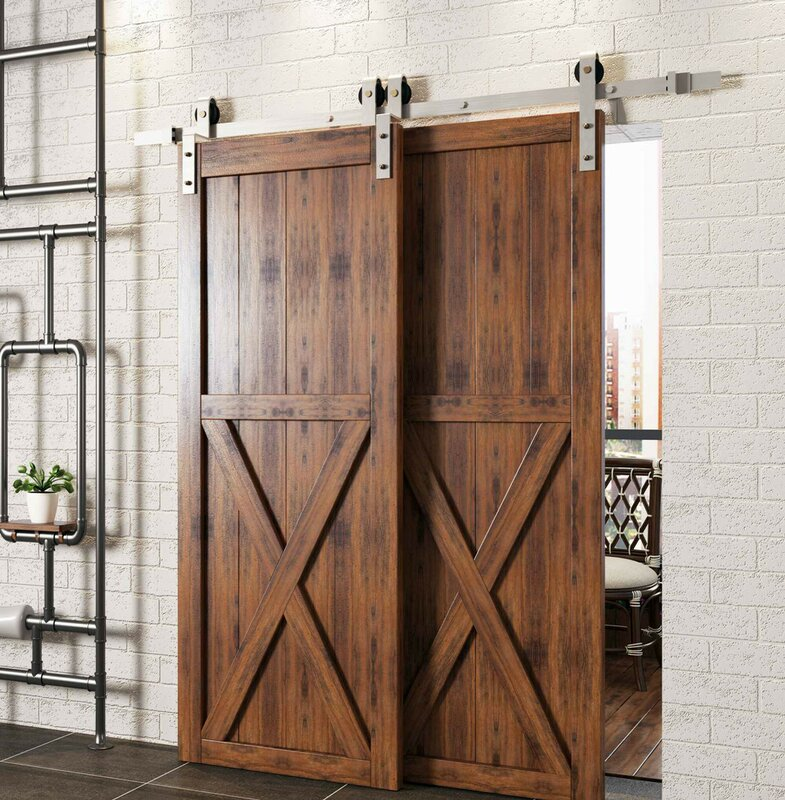 Double Door Bypass Track Barn Door Hardware Kit