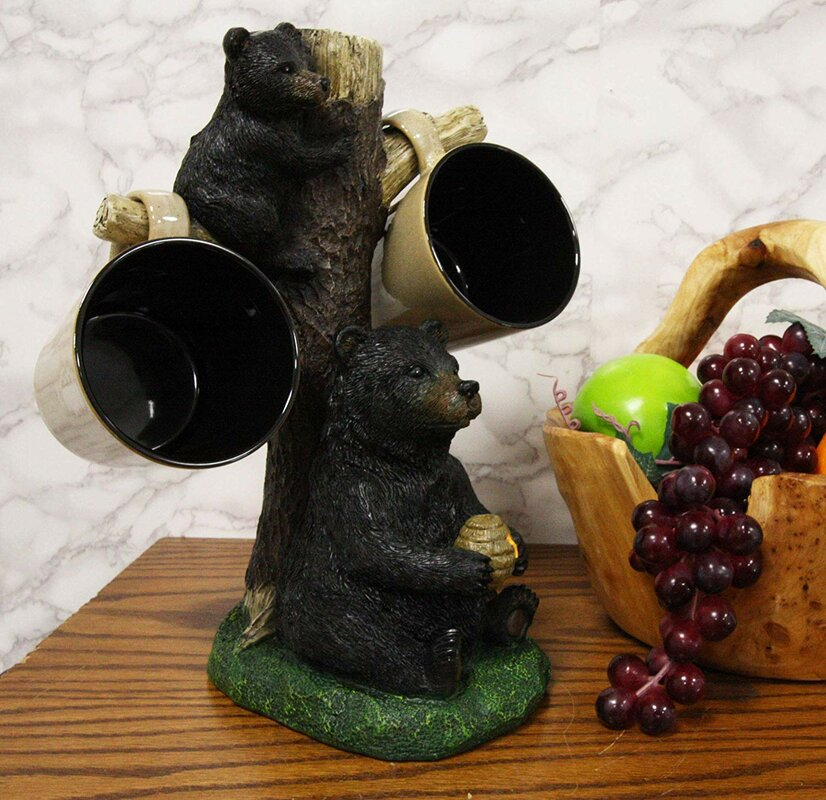 "Millwood Pines Large Rustic Wildlife Mother Bear With Honeycomb And Climbing Cub Mug Tree Accent Storage Organizer Figurine 13.25""High Decorative Bears Statue Cabin Lodge Mountain Resort Decor"