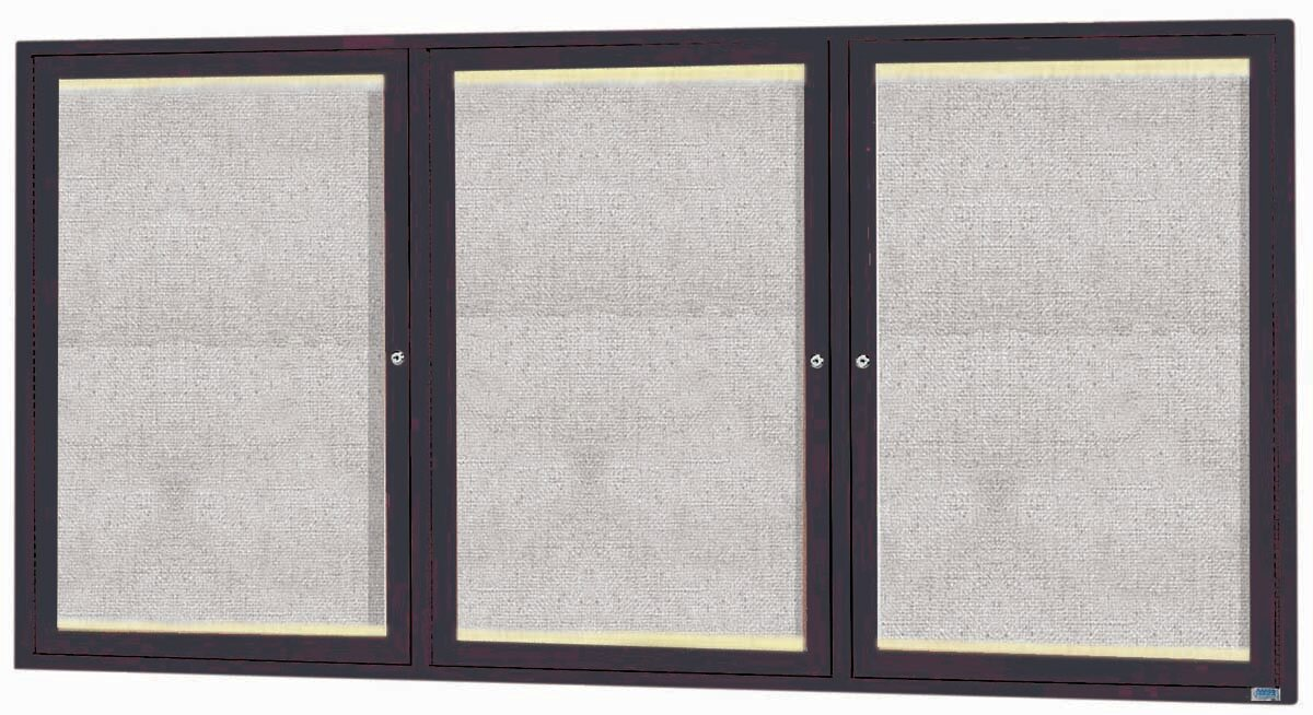 Framed Enclosed Wall Mounted Bulletin Board, 3' H x 6' W