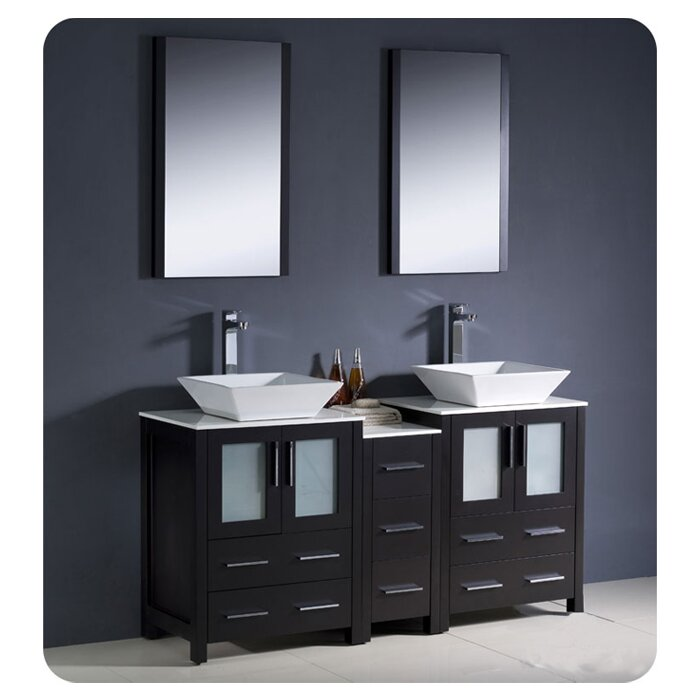 "Torino 60"" Double Bathroom Vanity Set with Mirror"
