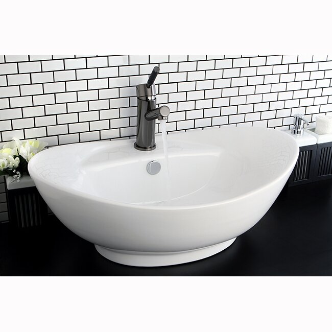 Harmon Ceramic Oval Vessel Bathroom Sink with Faucet Overflow