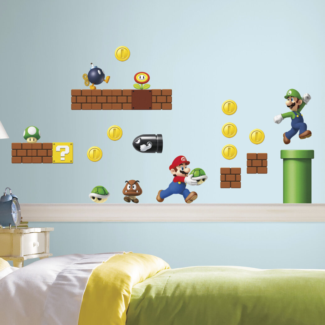 Room Mates Nintendo 45 Piece Super Mario Wall Decal & Reviews | Wayfair