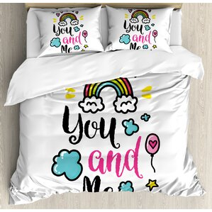 you and me quote with clouds and hearts love romance doodle print duvet set