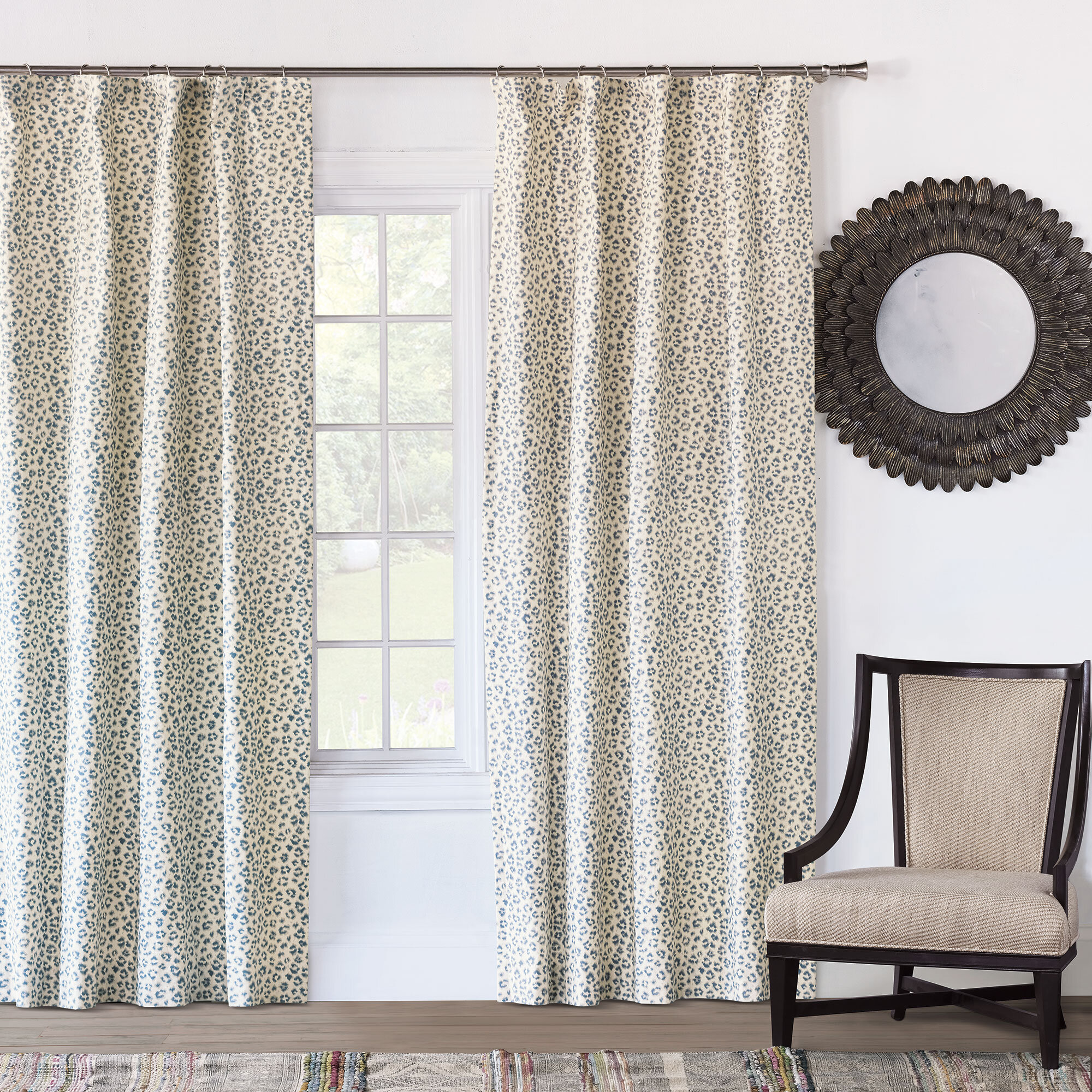 Eastern Accents Emory Animal Print Room Darkening Rod Pocket Single Curtain Panel Perigold