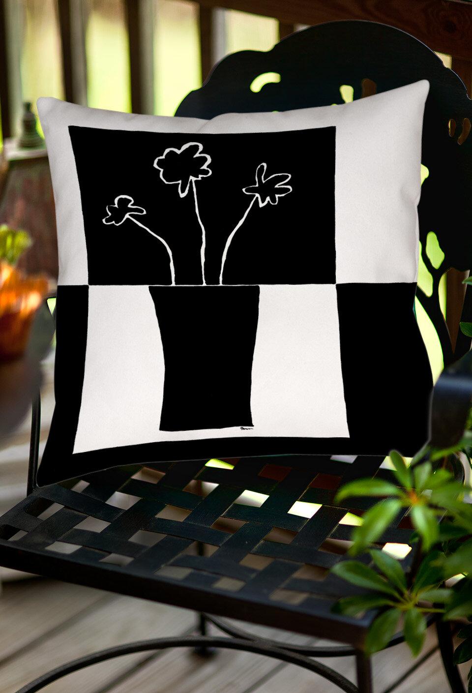 Manual Woodworkers Weavers Minimalist Flower In Vase Indoor Outdoor Throw Pillow Wayfair