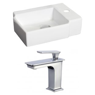 Read Reviews Ceramic 17 Wall Mount Bathroom Sink with Faucet and Overflow By American Imaginations