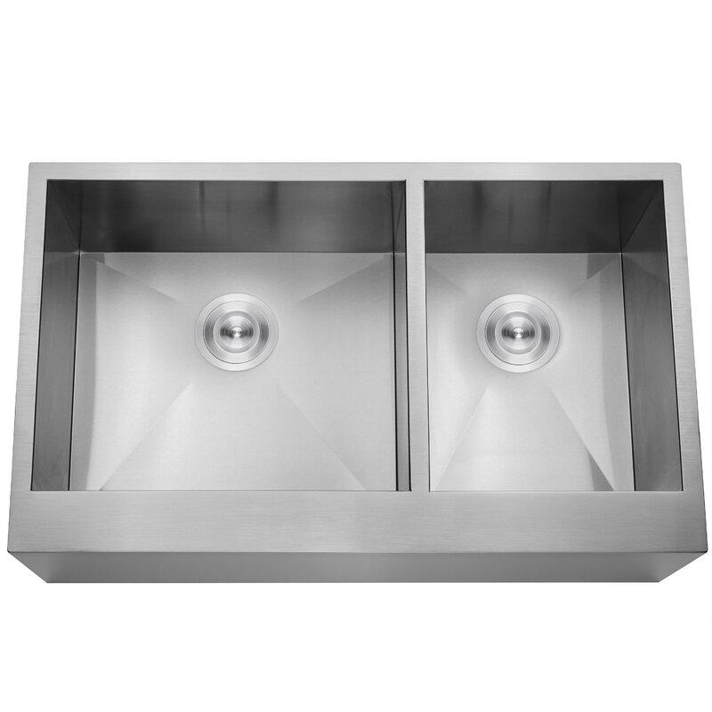 handmade 33   x 20   double basin farmhouse apron kitchen sink with drain strainer akdy handmade 33   x 20   double basin farmhouse apron kitchen sink      rh   wayfair com