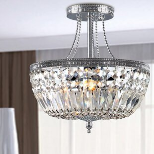 House of Hampton Carbon 3-Light Semi Flush Mount
