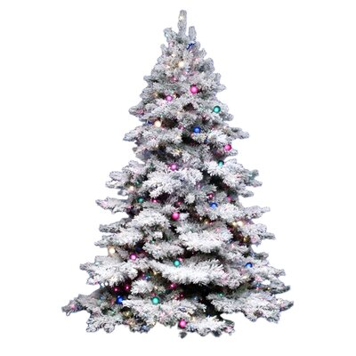 flocked alaskan 75 white artificial christmas tree with 900 multicoloured lights with stand - 75 White Christmas Tree