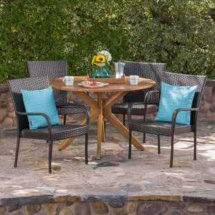 Ebern Designs Townes Outdoor 5 Piece Wicker Dining Set