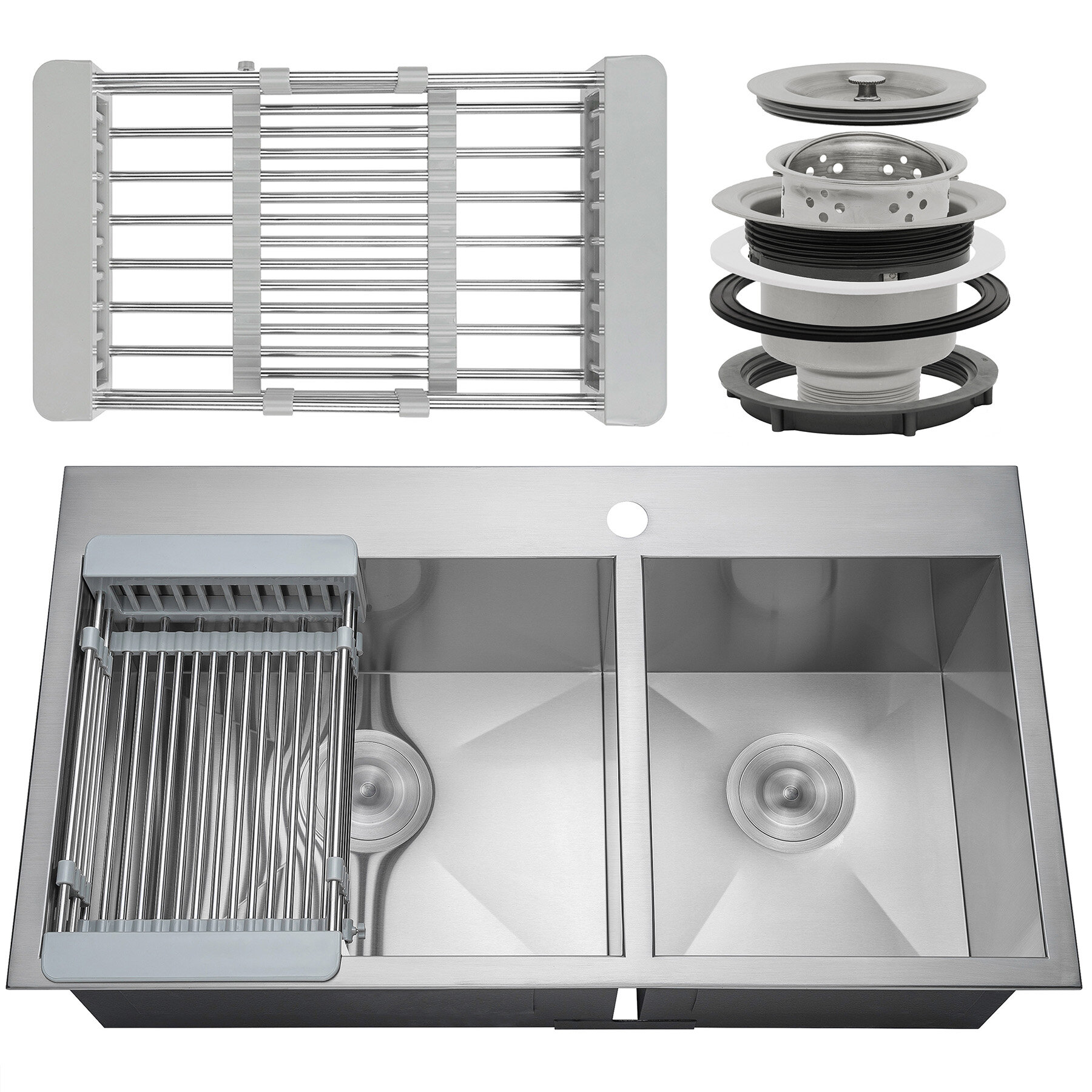 Akdy 33 X 22 Drop In Top Mount Stainless Steel Double Bowl 60 40